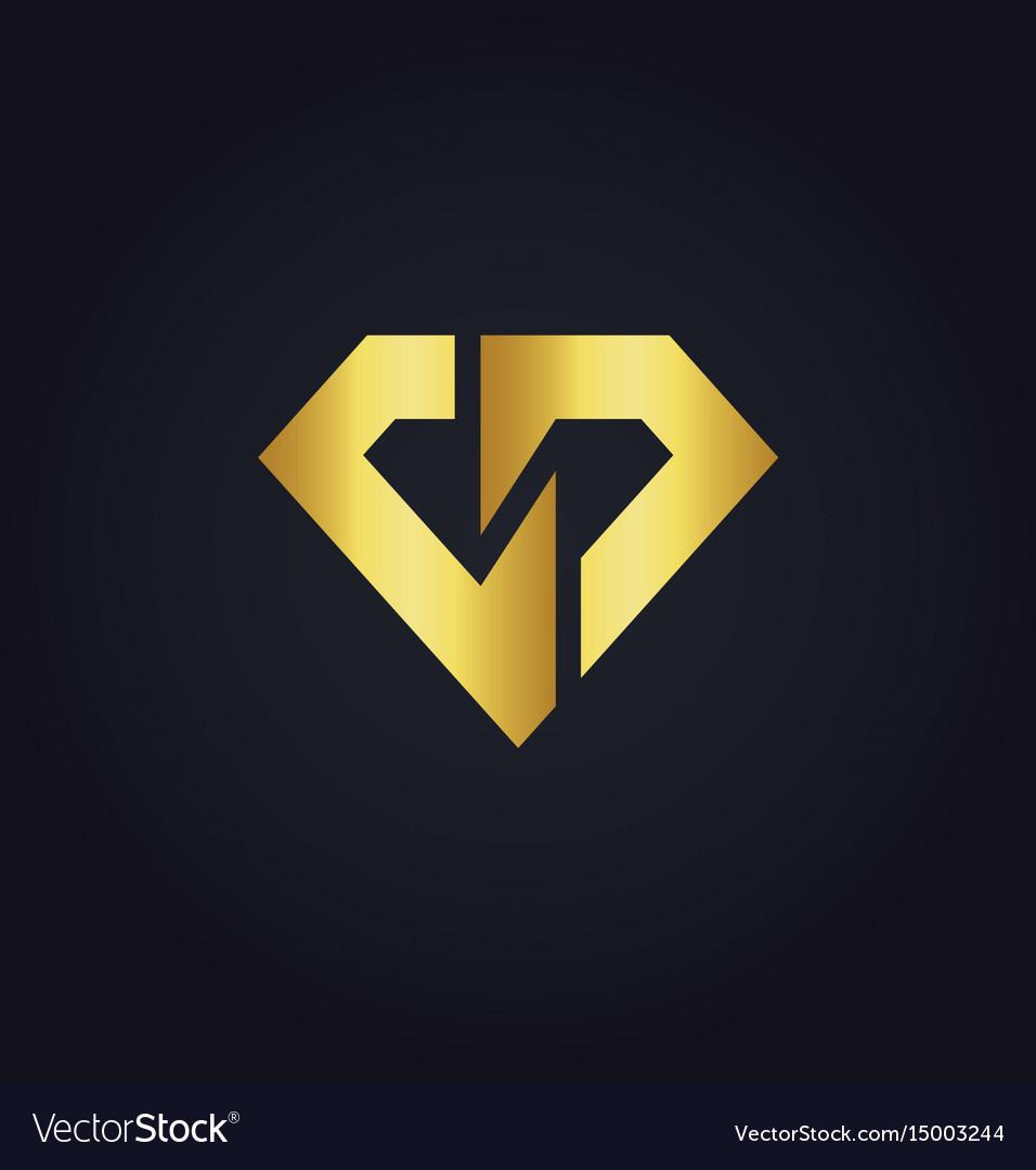 shape diamond gold logo royalty free vector image