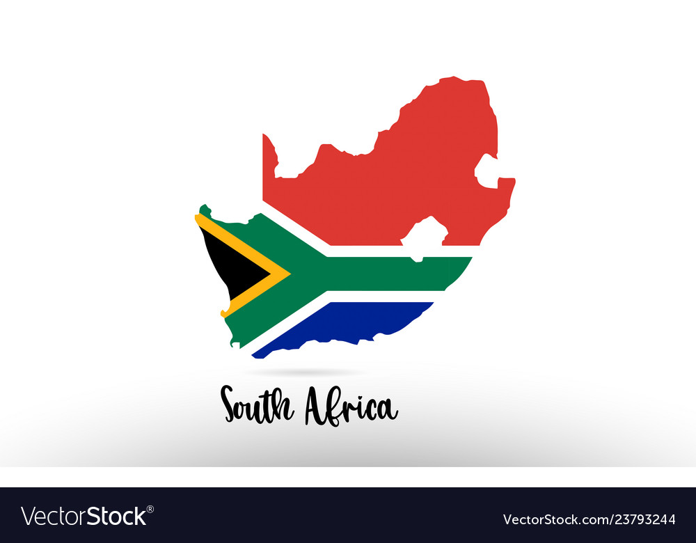 South Africa Flag In Africa Map.South Africa Country Flag Inside Map Contour