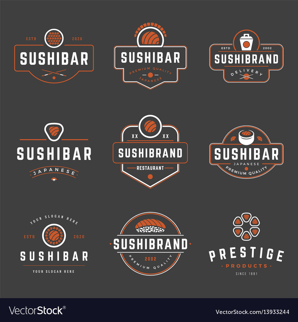 Sushi shop logos templates set objects and