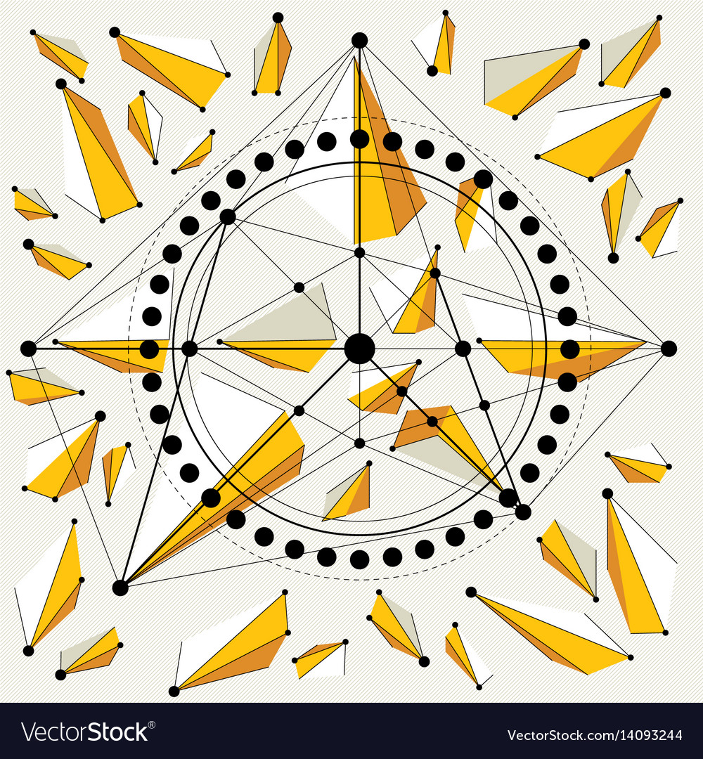 Technical drawing with dashed lines and geometric vector image