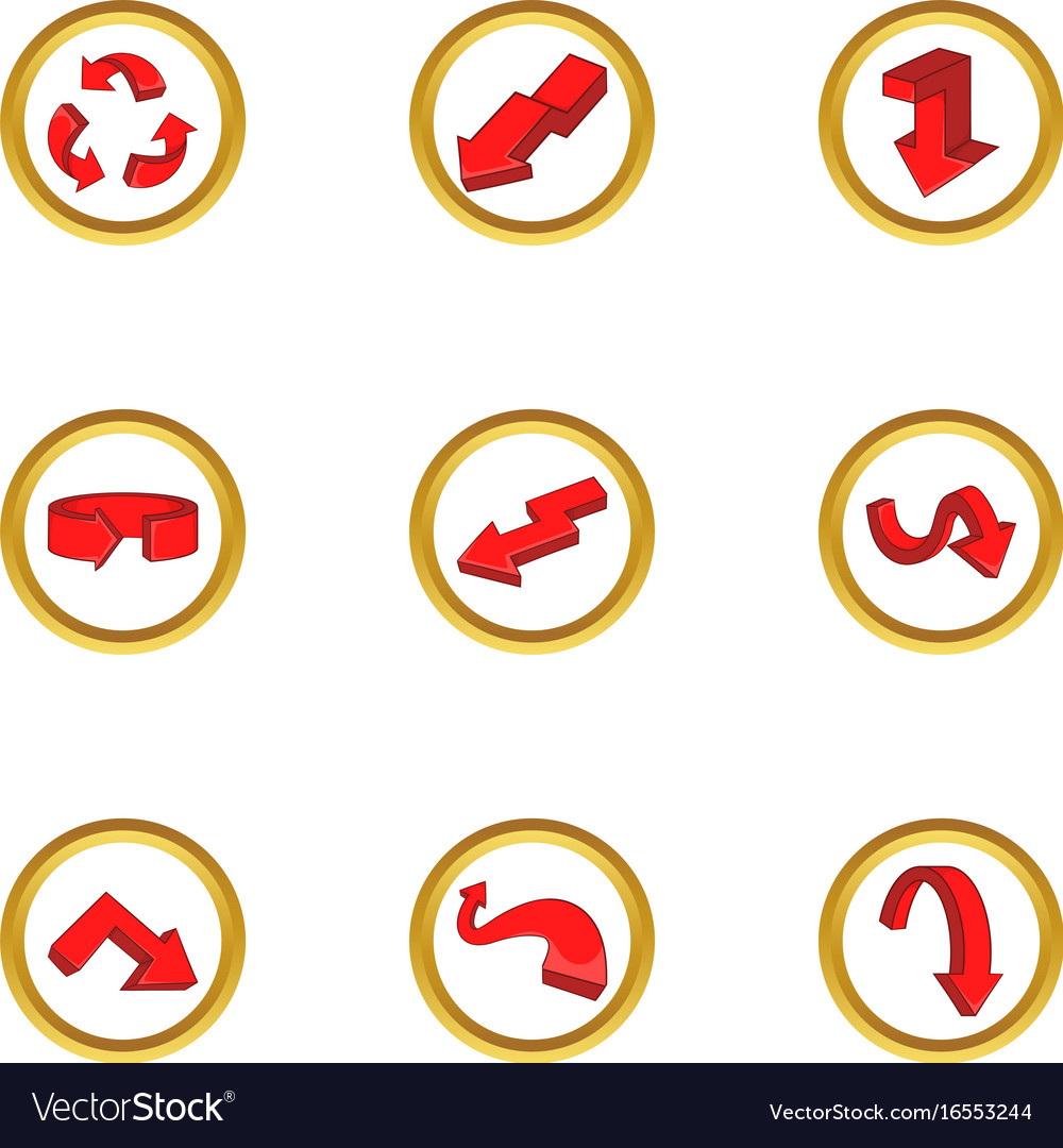 Various arrows icons set cartoon style vector image