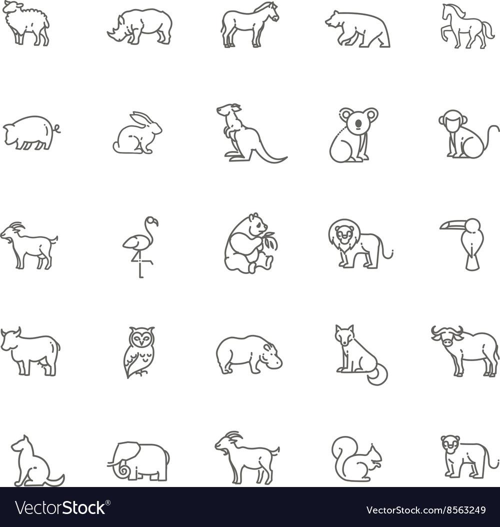 Animal icons Zoo line icons Animal vector image