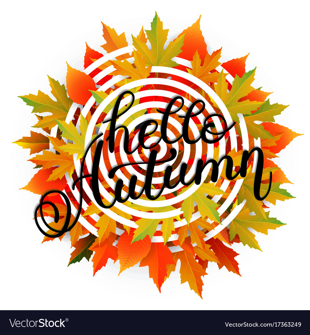 Autumn banner background with paper fall leaves vector image