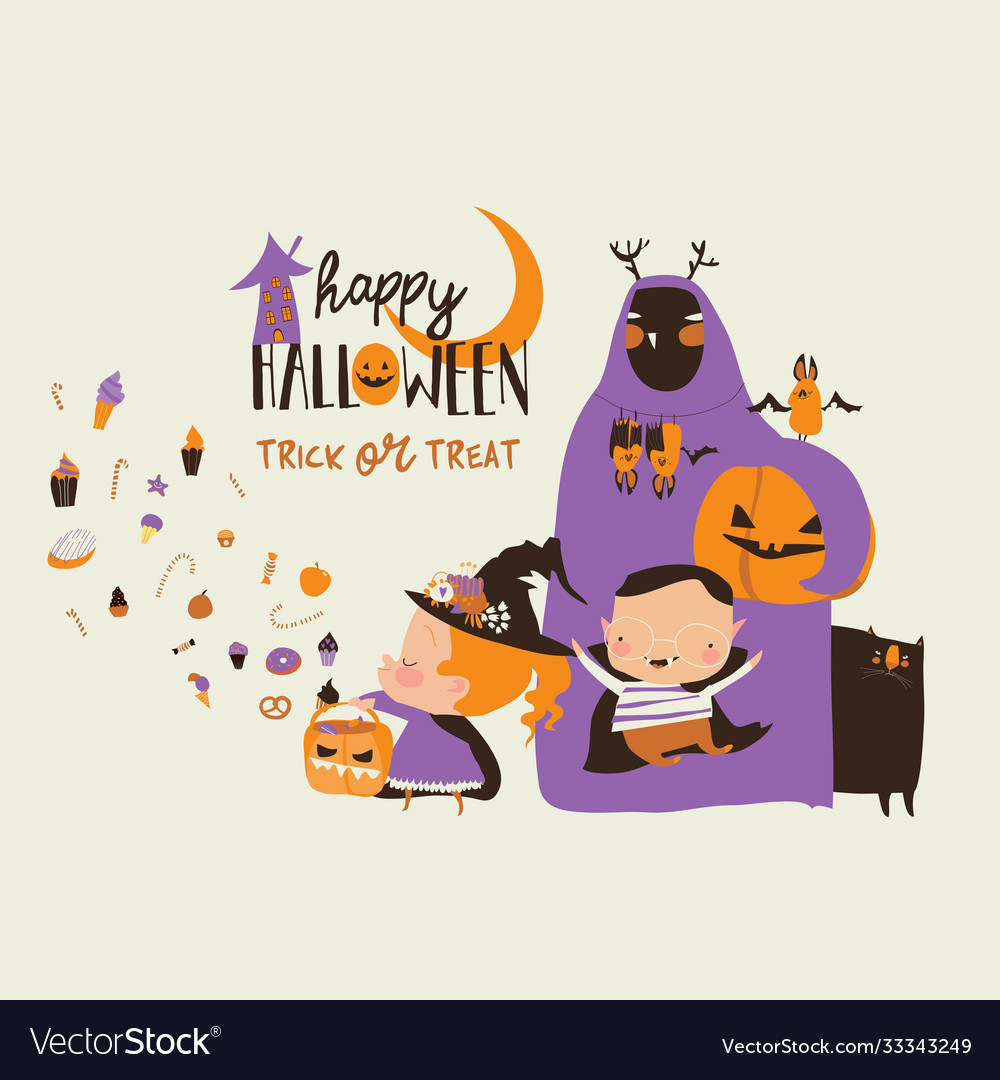 Cartoon happy children trick or treating in