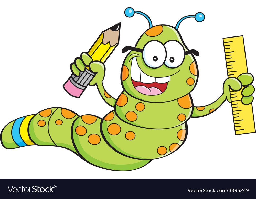 Cartoon inch worm holding a pencil and ruler