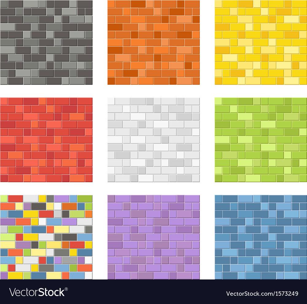 Color Seamless Patterns Of Brick Walls Royalty Free Vector