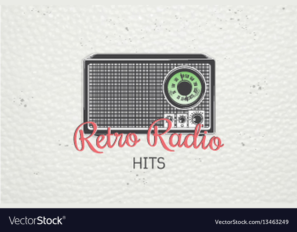 Color sticker retro radio detailed elements old