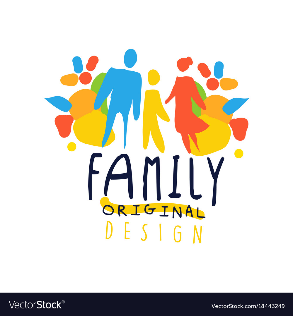 Colorful happy family logo design with mother