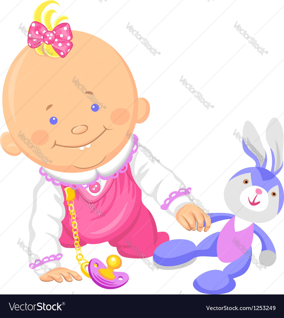 Cute smiling baby girl playing with a toy rabbit