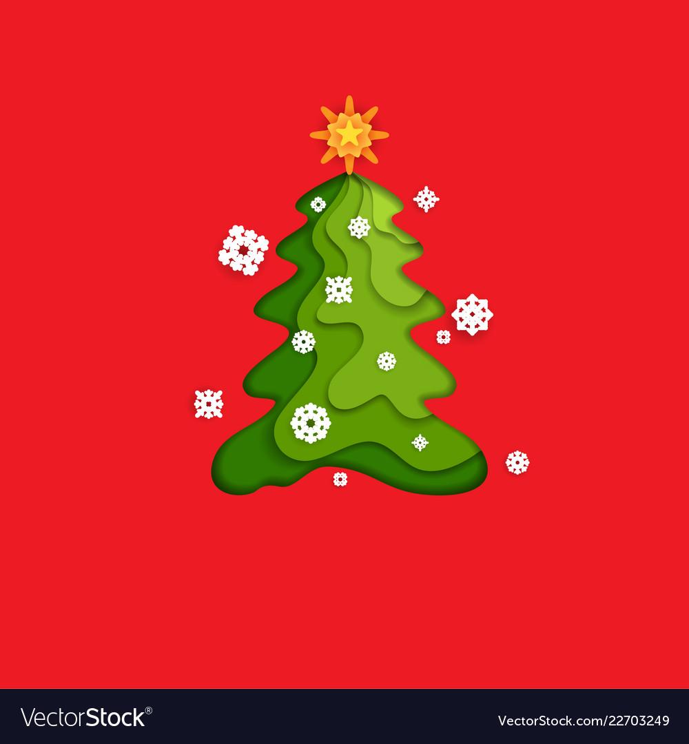 Fir tree on red