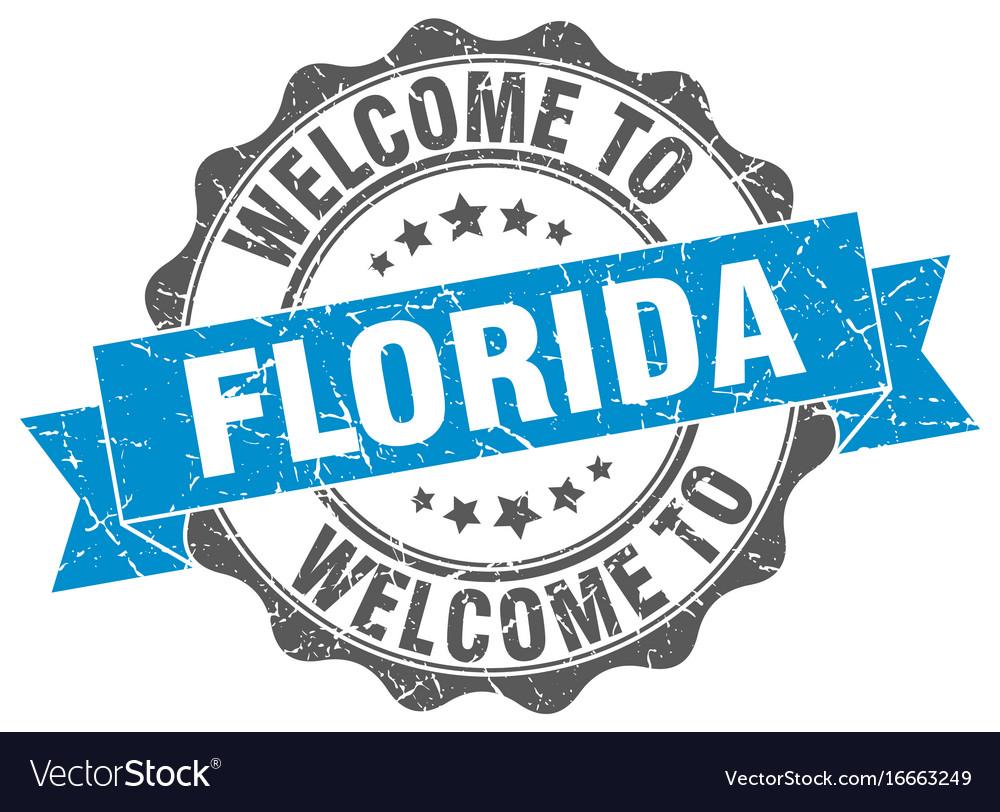 Florida round ribbon seal vector image