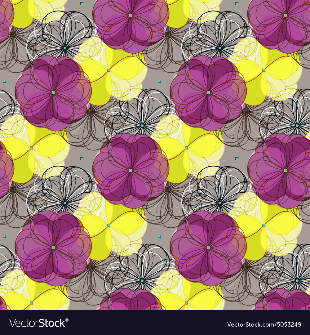 Geometric abstract floral seamless pattern vector image