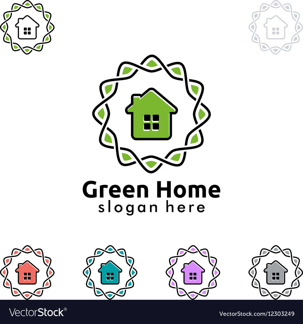 Green home logo real estate logo design vector image