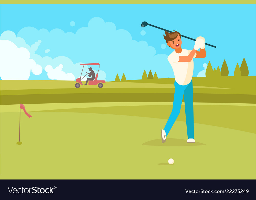 Happy man playing golf flat