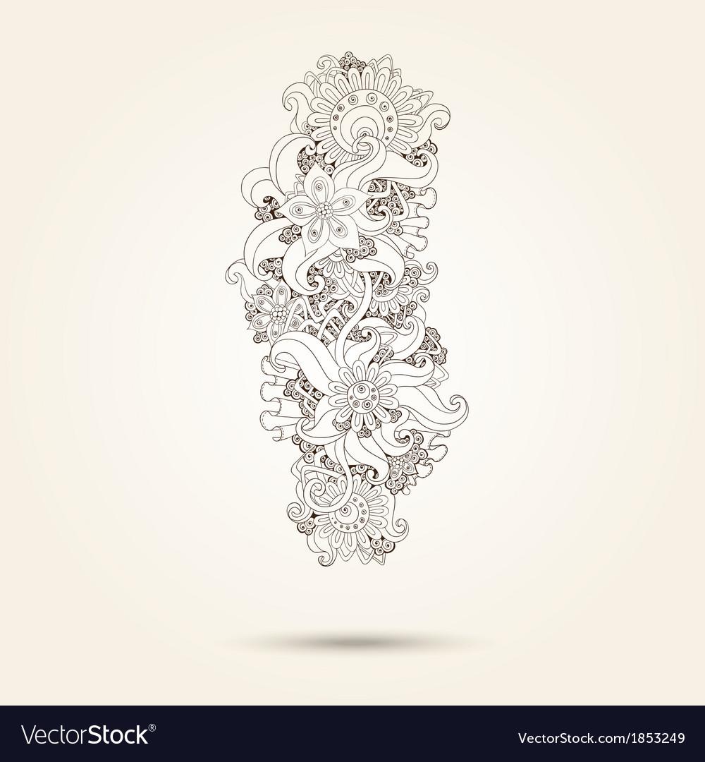 Henna Paisley Mehndi Doodles Design Element