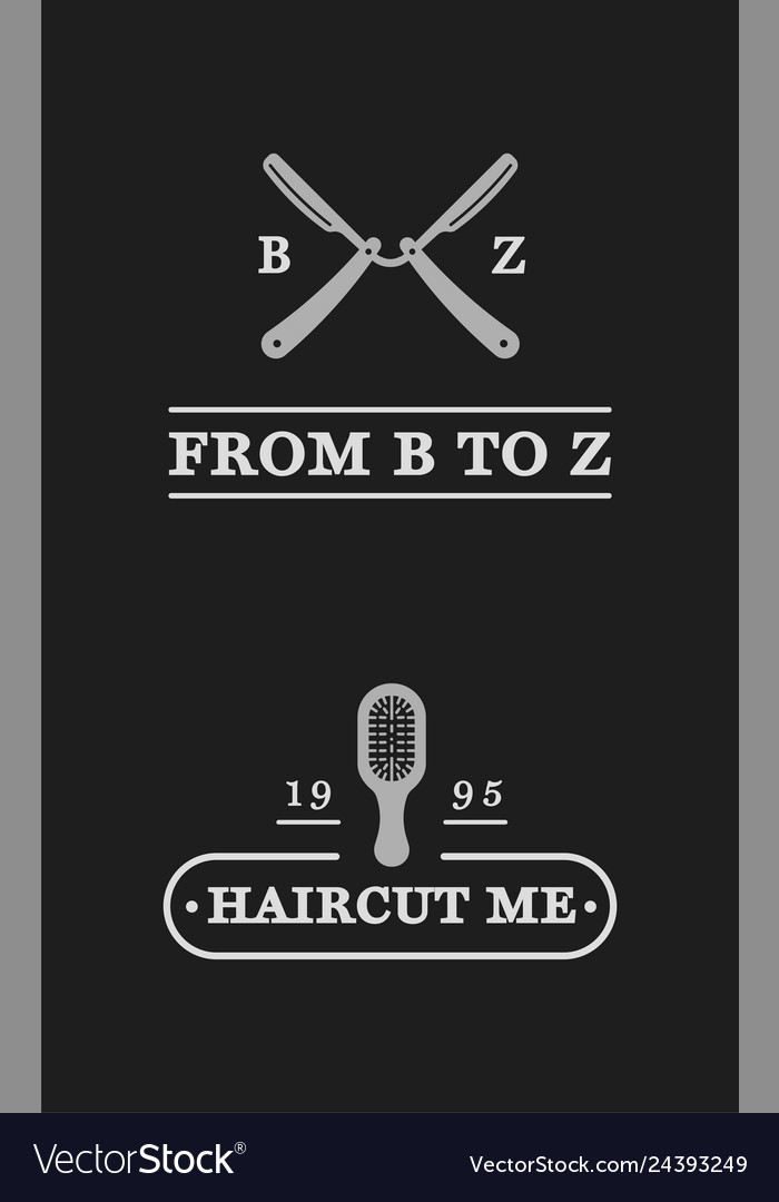 Set vintage barber shop badges