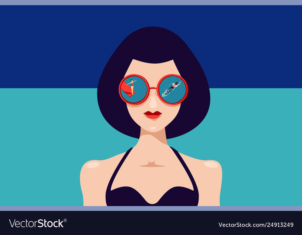 Woman face with sunglasses and reflection