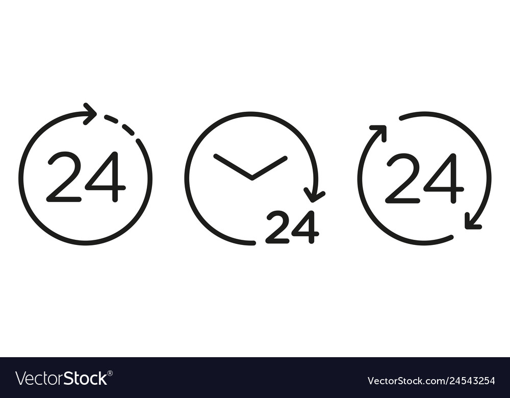 24 hours icons set