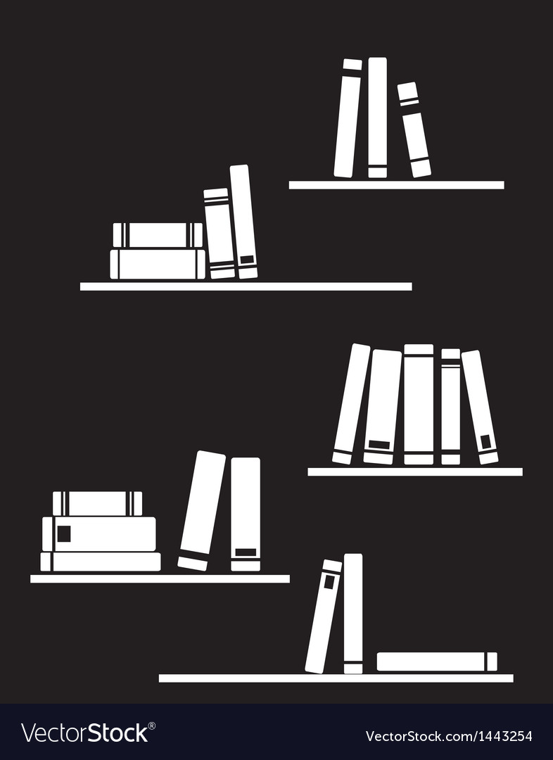 Black and white library books on shelf