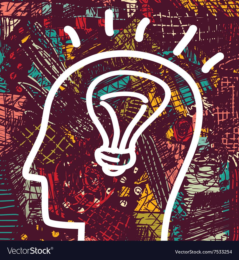 Brain creative head business idea art icon and