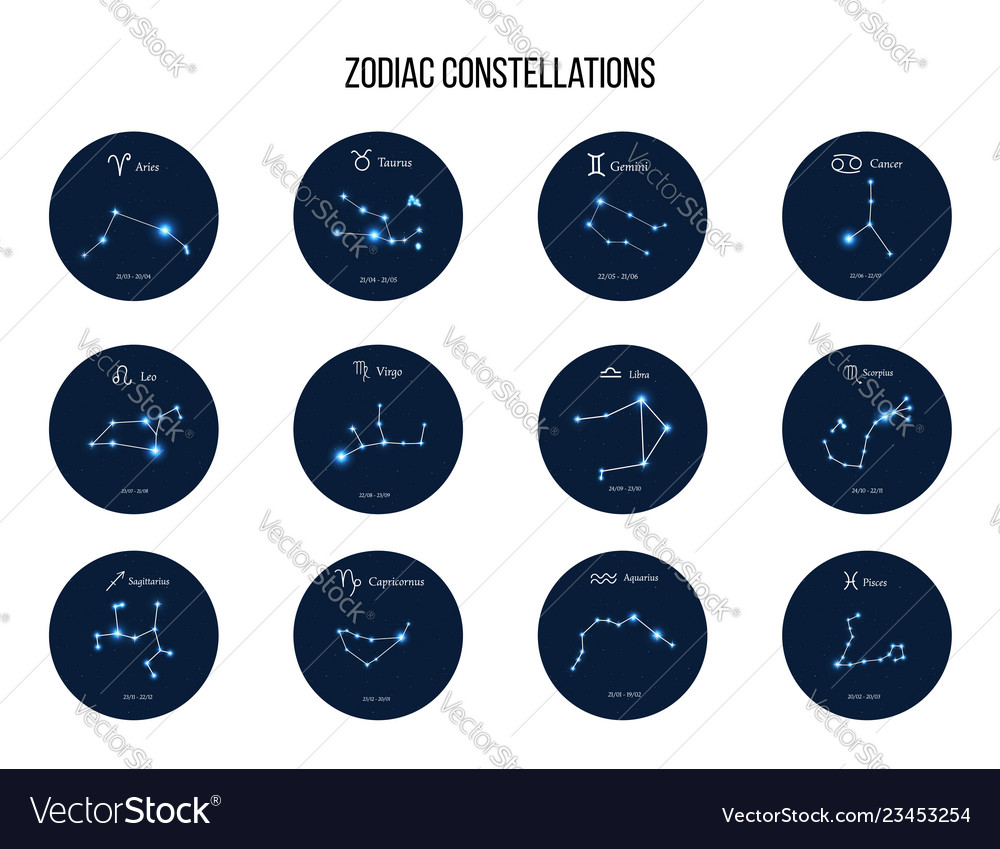Collection zodiac constellations and horoscope
