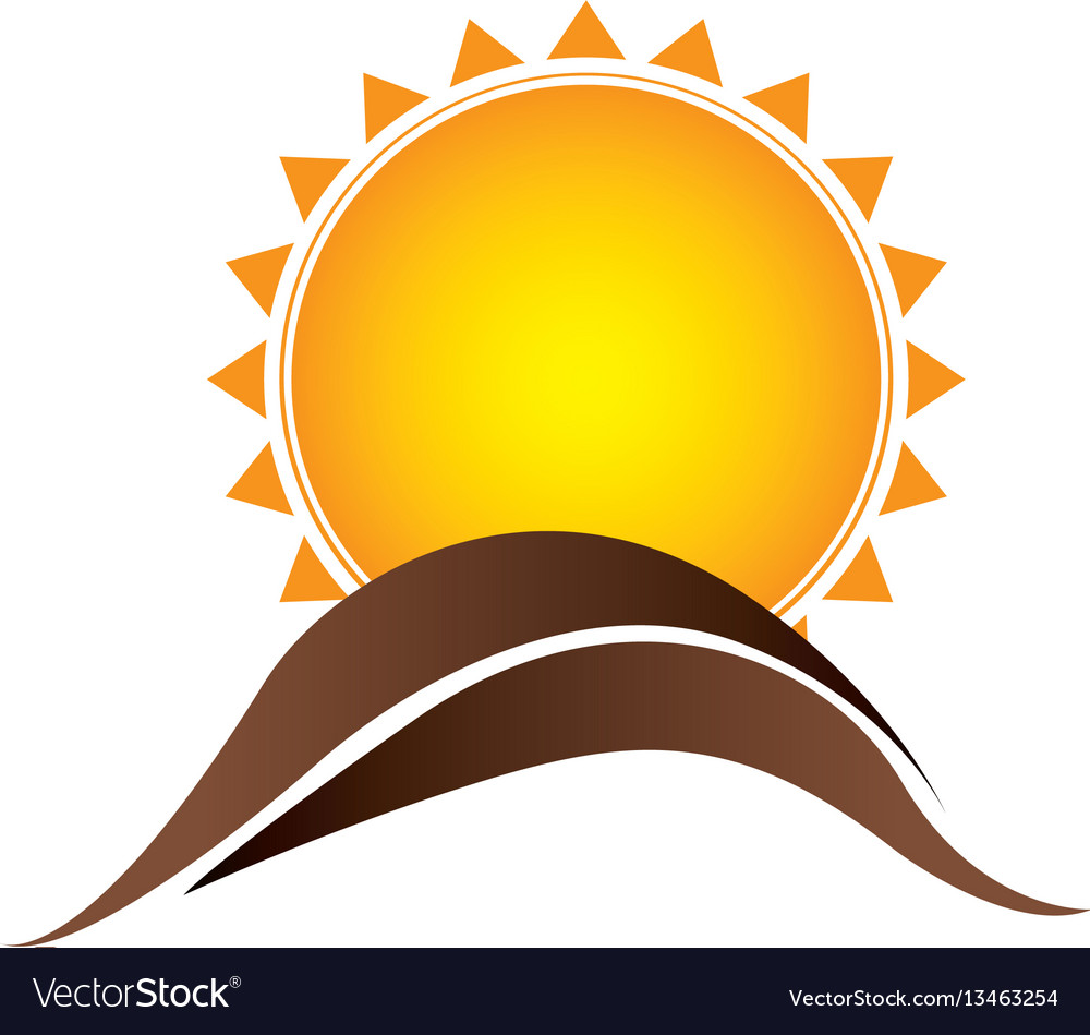 Color sun with brown mountain icon