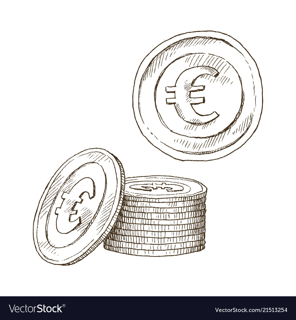 Doodle icons coins on isolated white