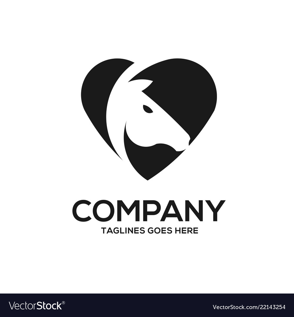 Horse love template with negative space