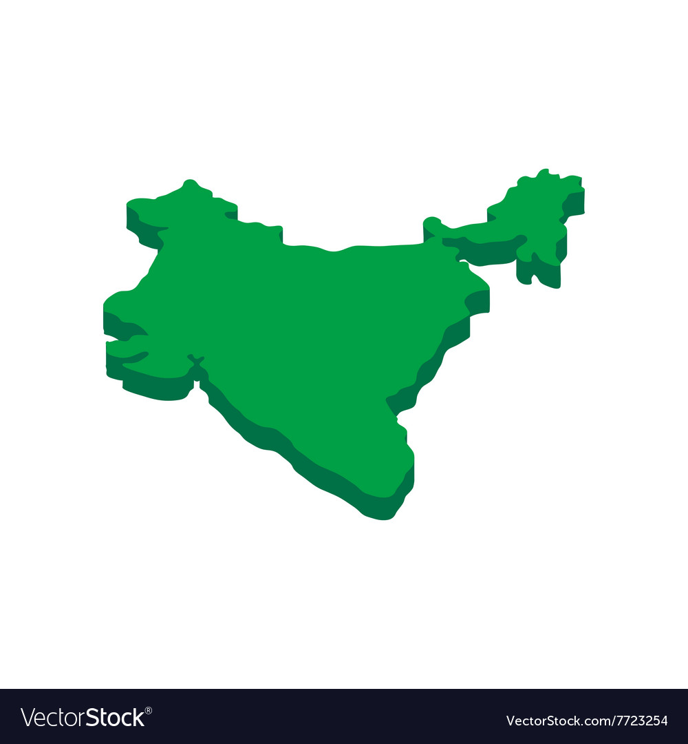 Nice India Map Icon Isometric 3d Style Vector Image