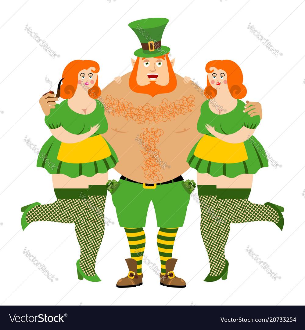 Kiss me im irish leprechaun and beautiful girls