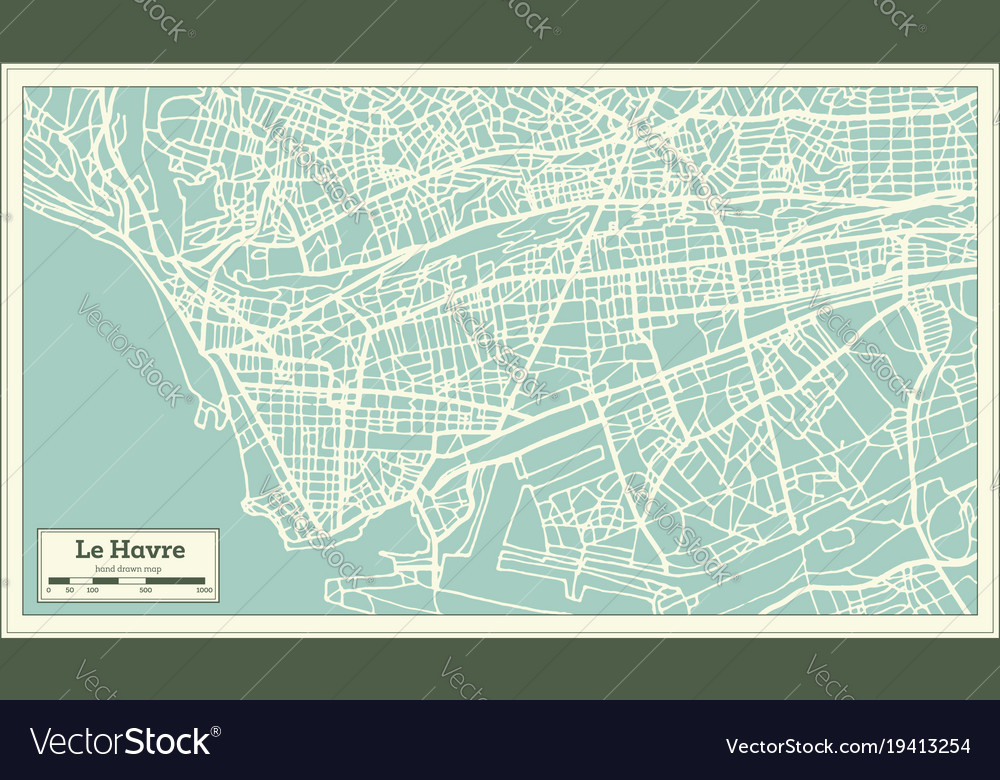 Map Of France Le Havre.Le Havre France City Map In Retro Style
