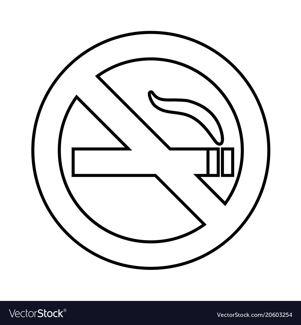 No smoke area line icon outline sign