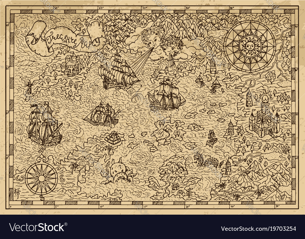 Pirate map with fantasy elements vector image