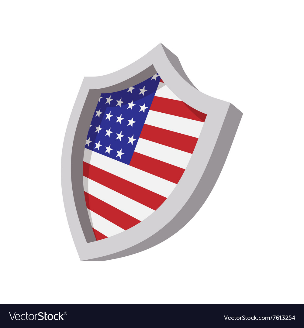 security shield with american flag color icon vector image