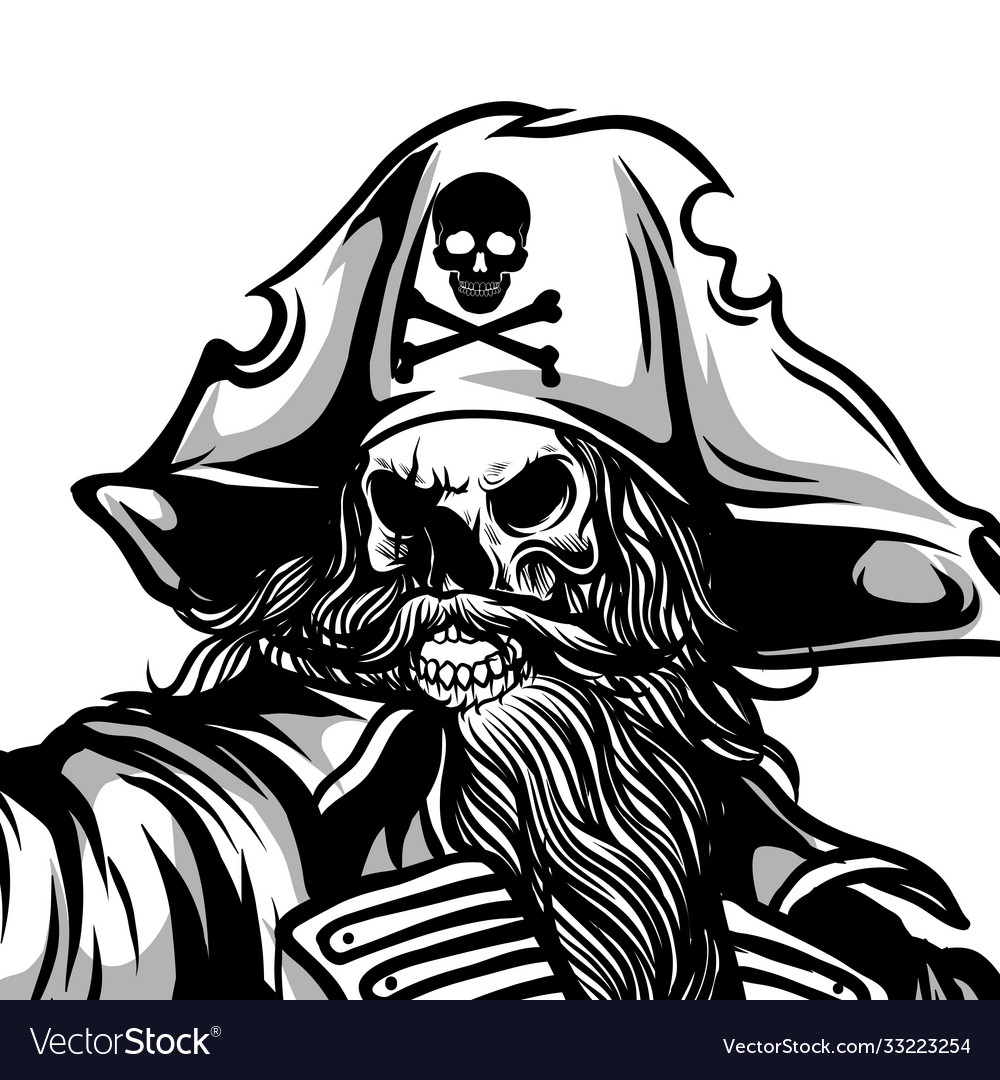 Spooky pirate hand drawing