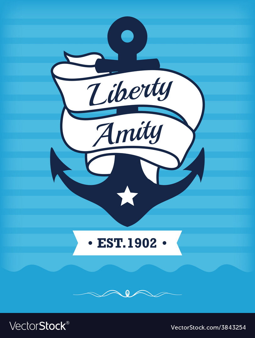 Vintage label with maritime character