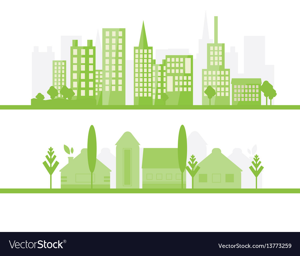 2 green city silhouette in flat design eco