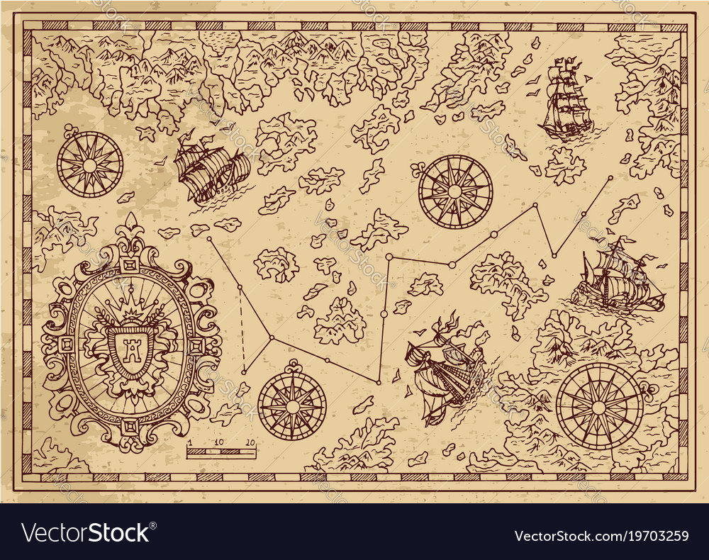 Ancient pirate map with decorative elements