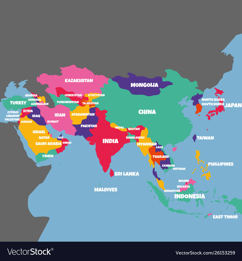 Asia map with the name of the countries