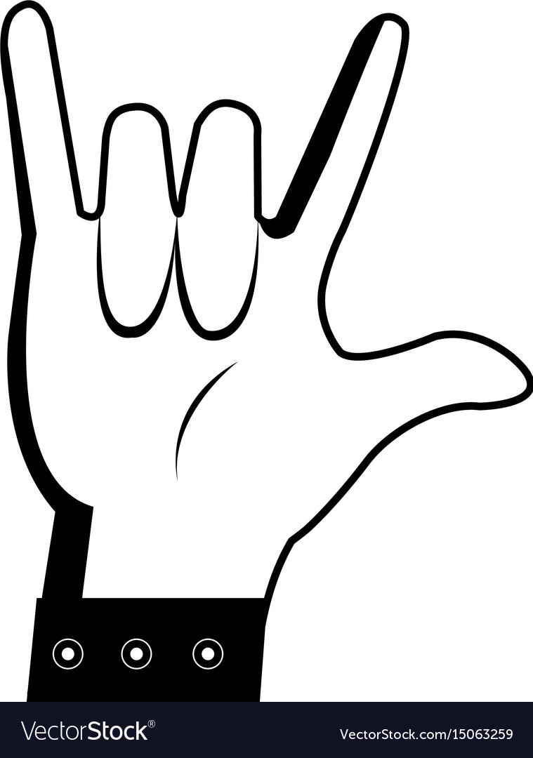 Cartoon man hand rock n roll gesture vector image