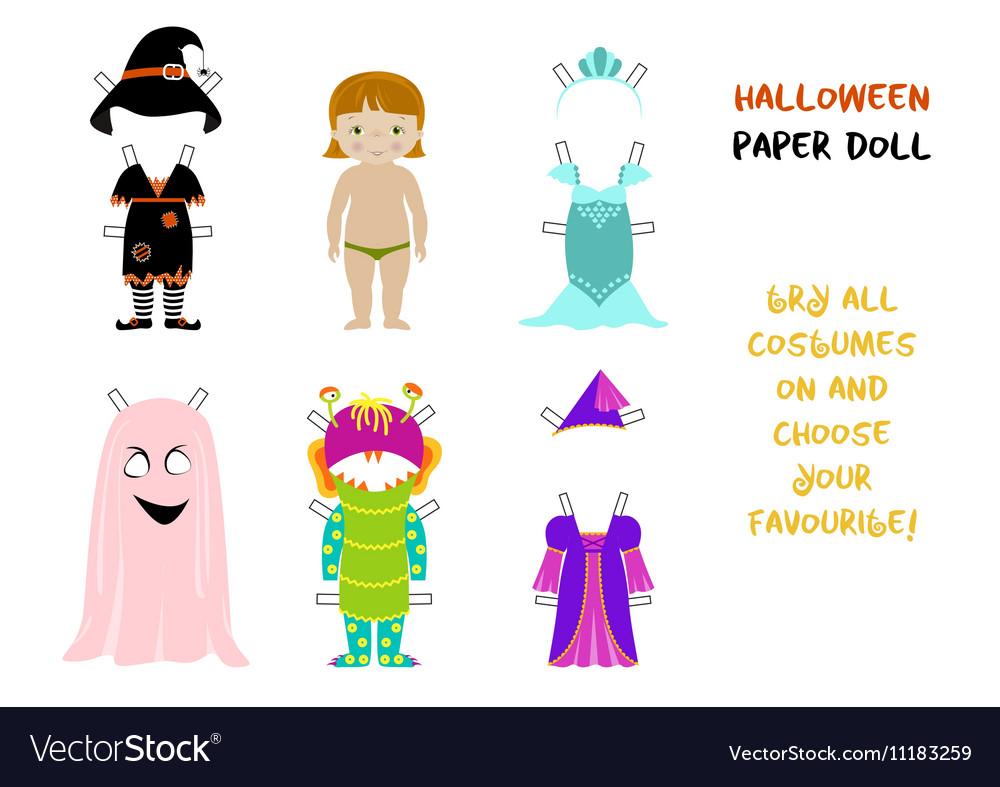 Halloween paper doll cartoon