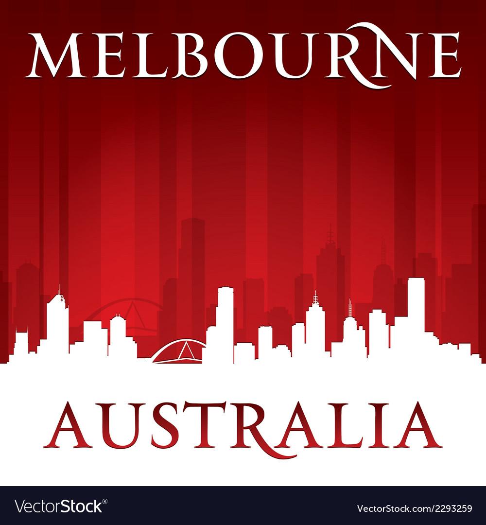 Melbourne Australia city skyline silhouette