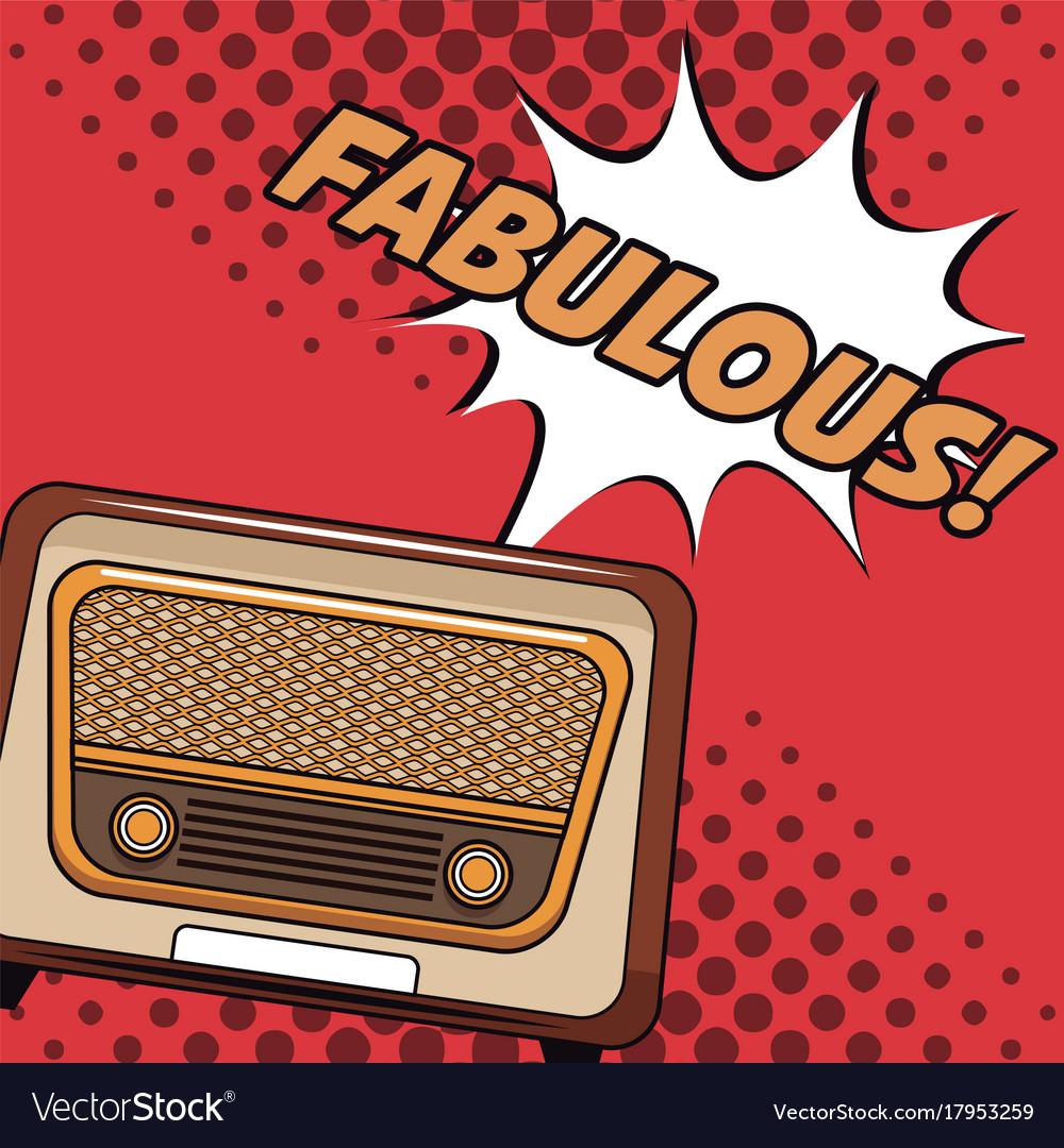 Old radio pop art cartoon