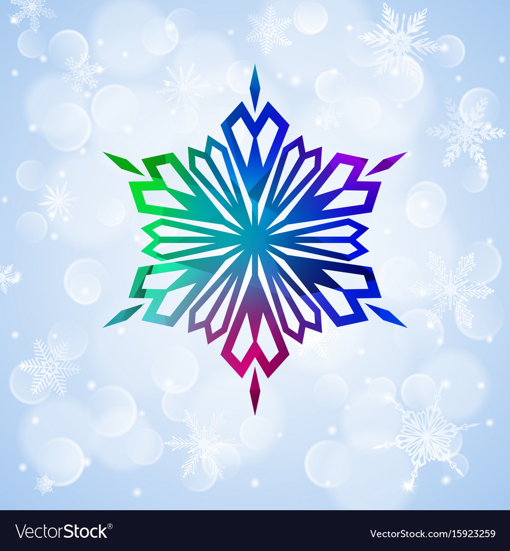 One big colorful snowflake on light blue vector image