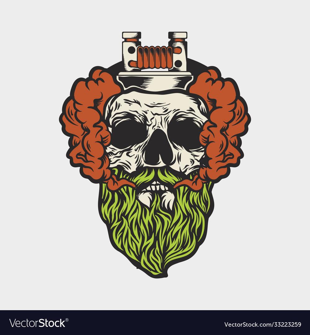 Skull and vaporous smoke