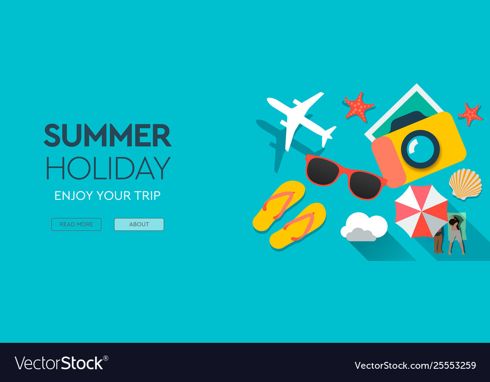 Summer holiday traveling template with beach