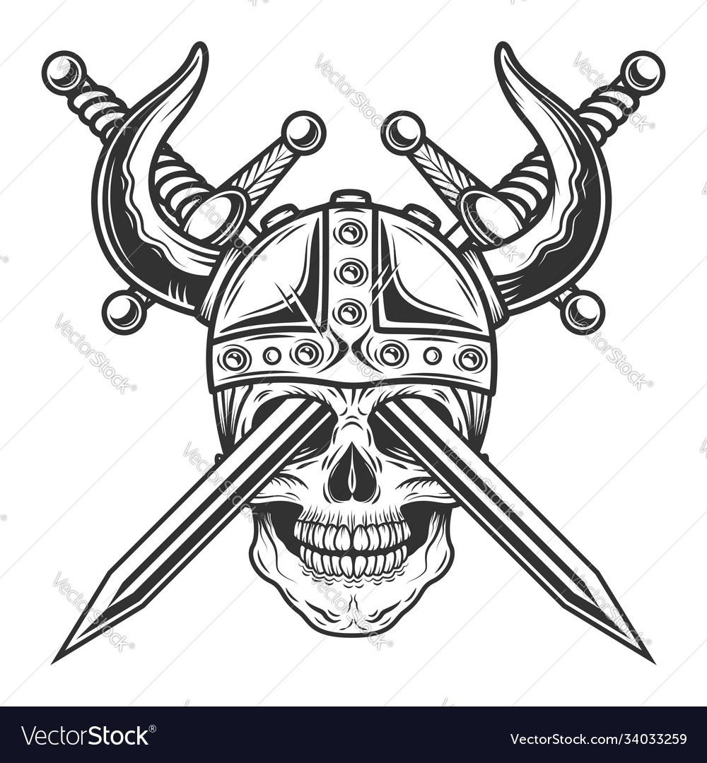Viking horned skull in helmet with crossed swords