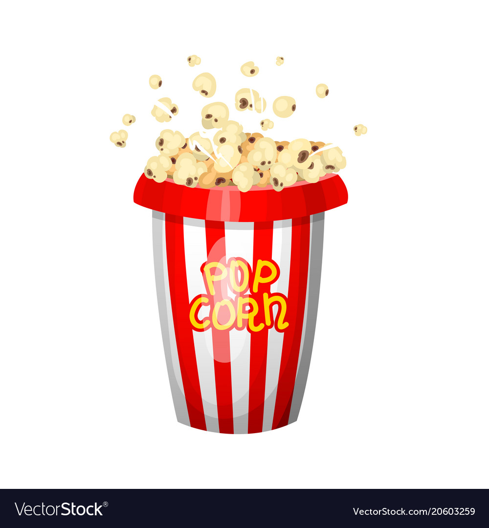 Vintage popcorn for movie entertainment and vector image
