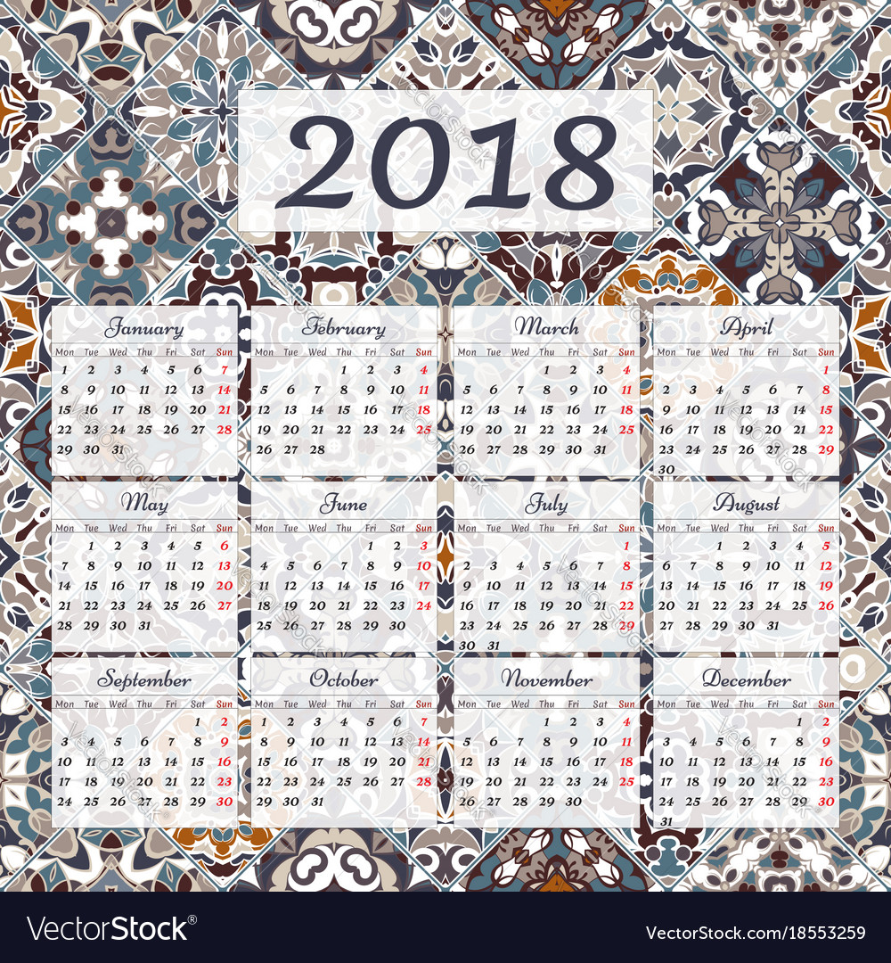wall calendar for 12 months 2018 vector image