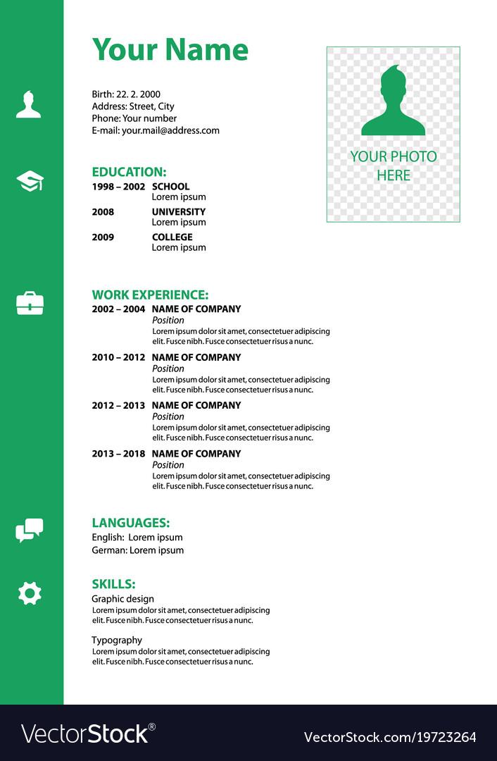 Cv Resume Template In Green Color